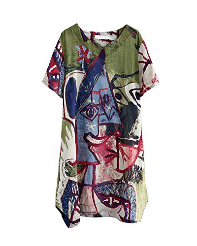 HOOBEE LINEN Women's Graffiti Print Split Baggy Dress with Pockets ()