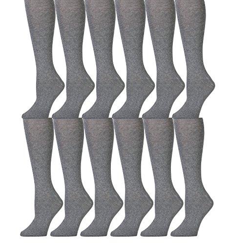12 Pairs of Girls Knee High Socks, Cotton, Flat Knit, School Socks (7 - 8.5, Gray)