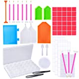 (US) OPount 75 Pieces 5D DIY Diamond Painting Cross Stitch Tool Set Including 2 Styles Diamond Stitch Pen, Tweezers, Glue, Plastic Tray, Stick Labels, Spoon and Diamond Embroidery Box for DIY Art Craft