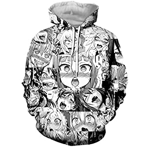 YX GIRL Unisex 3D Printed Ahegao Hoodies Drawstring Pockets Hoodie Sweatshirts