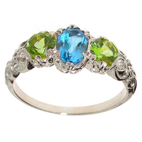 LetsBuyGold 18k White Gold Natural Blue Topaz and Peridot Womens Trilogy Ring - Size 5.75