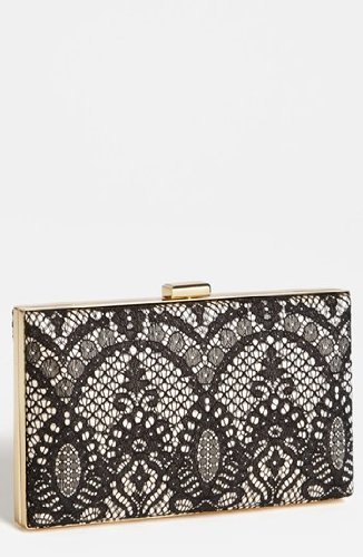 sondra-roberts-nude-black-lace-pewter-trim-box-clutch-pewter
