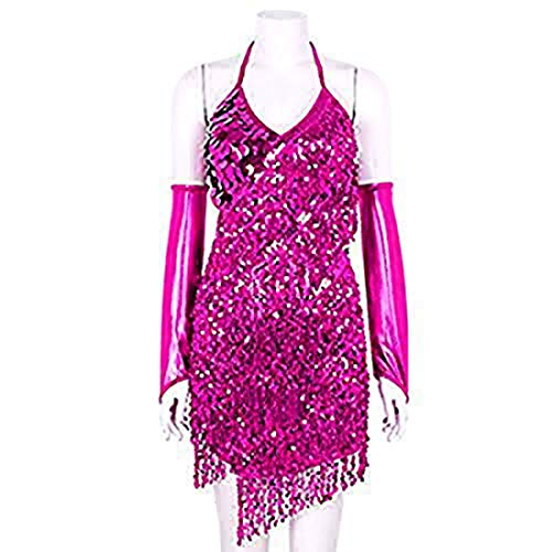 ranrann Women's Shiny Sequins Tassels Halter Neck Latin Dance Dress Costume with Hand Sleeves Rose One ()