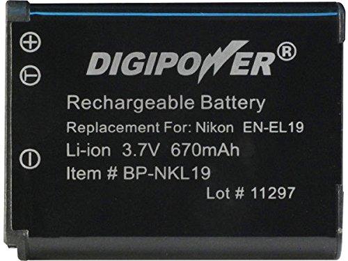 (DigiPower BP-NKL19 Digital Camera Battery, Replacement for Nikon EN-EL19 battery pack (Black))