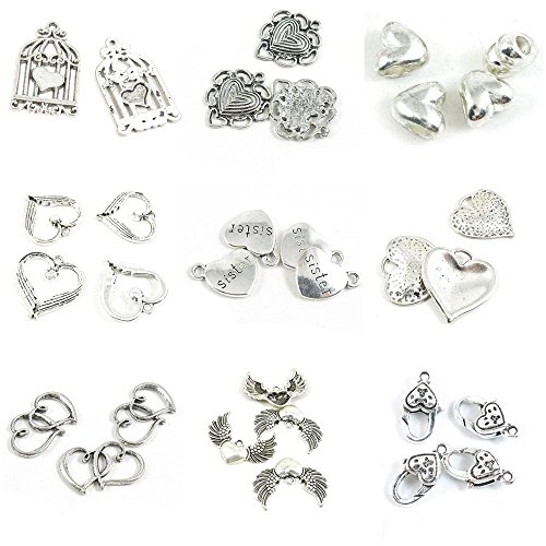 Wing Dual (30 Pieces Antique Silver Tone Jewelry Making Charms Love Heart Lobster Key Clasp Angel Wings Dual Hearts Sister Loose Beads Surrounded Bird Cage Birdcage)