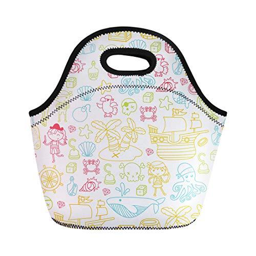 Semtomn Lunch Bags Children Playing Pirates Boys and Girls Kindergarten School Preschool Neoprene Lunch Bag Lunchbox Tote Bag Portable Picnic Bag Cooler Bag -