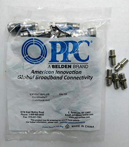 RG-11 PPC Belden EX11N716PLUS F-Connectors + 5 F-81 Connector, Sealed Bag of 25 Signal Tight Snap & Seal Plenum Outdoor Compression Connector, Comcast DTV & Dish Approved 25 Connectors + 5 F81 barrels