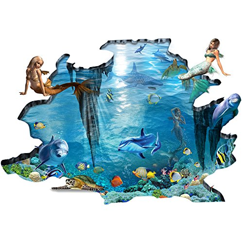 H4S Mermaid Dolphin Fish Blue Ocean Sea 3D Peel and Stick Waterproof Non Slip PVC Door Bathtub Bath Mat Shower Mats Bathroom Rugs Floor Art Decor Decals Stickers for Kids, Extra Large Size