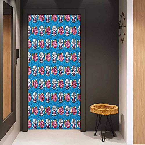Toilet Door Sticker Pearls Bubbles Backdrop with Scallops and Swimming Fishes Horizontal Design Tropic Cartoon Glass Film for Home Office W35.4 x H78.7 Multicolor