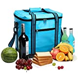yodo 26L Collapsible Soft Sided Cooler Bag - Family Size Roomy for Reunion, Party, Beach, Picnics, Sporting Music Events, Everyday Meals to Work, Ice Blue