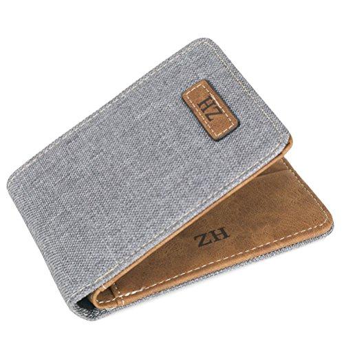 Coface Mini Ultra Dünn Praktisch Praktische Mode Leinwand Brieftasche Herren-Geldbörsen Karten-Paket Grau