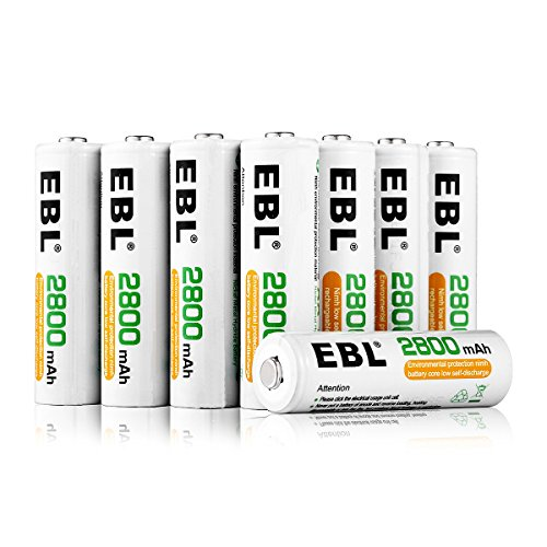 EBL 16 Pack AA 2800mAh Rechargeable Batteries with Battery Storage Case - UL Certified by EBL