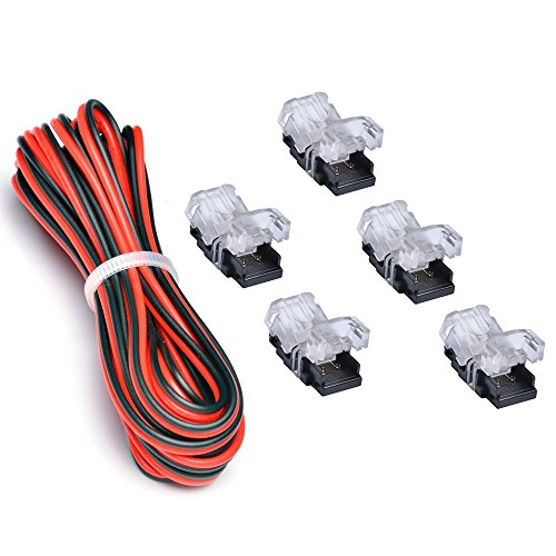 8 Mm Led (3528 LED Strip Connector 8mm 2 Pin (5 PCS Terminal) With 20 Gauge Extension Wire 2 Conductor UL Listed (9.8 Feet/3 Meter), DIY Both Strip to Power Lead or Board to Board Jumper,NON-WATERPROOF)