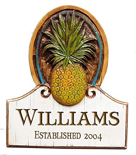 - Piazza Pisano Personalized Pineapple Welcome House Sign Large Size (Large)