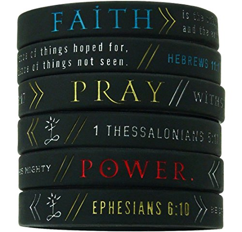"(6 pack) ""Faith, Power, & Pray"" Bible Wristbands Hebrews 11:1, Ephesians 6:10, & 1 Thessalonians 5:17"