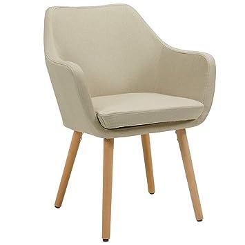 Silla de Comedor de Tela (Lino) o de Cuero sintético Crema diseño Retro Beige Beis sillón con Brazos Silla tapizada Vintage con Patas de Madera ...