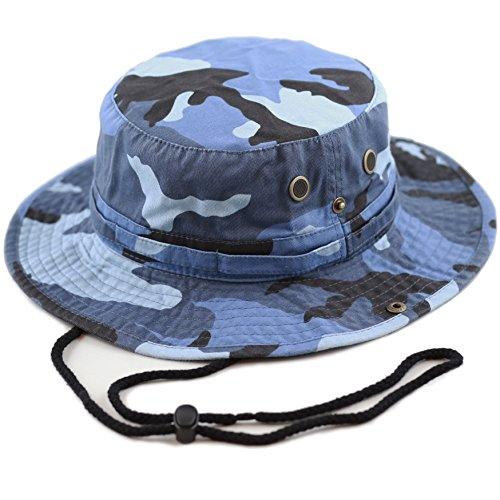 Camo Blue Camouflage (THE HAT DEPOT Unisex Summer Outdoor Packable Camouflage Bucket Hat (L/XL, Bluesky Camo))