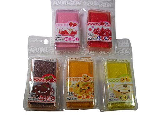 Scented Kneaded Eraser, Set of 5, Lemon, Chocolate, Strawberry, Vanilla, Mango