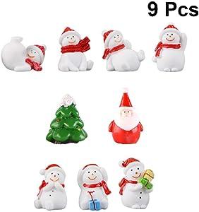 DOITOOL 9PCS Mini Christmas Miniature Ornament Kits for DIY Fairy Garden Dollhouse Decoration Desktop Resin Christmas Ornament Mini Christmas Tree Christmas Snowman for Christmas Decoration