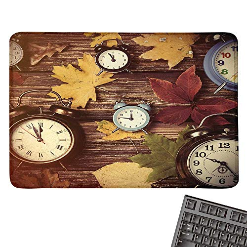 (Fallcomputer Mouse padDifferent Colored Dry Maple Leaves and Various Alarm Clocks on Wooden Planks PrintBlack Cloth Mousepad 15.7
