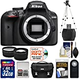 Nikon D3400 Digital SLR Camera Body (Black) with 32GB Card + Case + Tripod + Remote + Tele/Wide Lens Kit (Certified Refurbished)