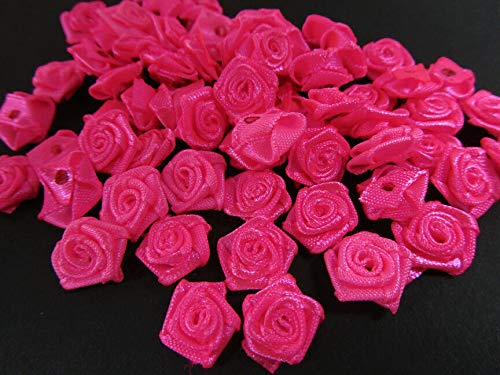 "Ribbon Art Craft Decoration 40 Neon Pink Hand Made Ribbon Rose 1/2"" Flower Applique/Craft/Trim/Dress/sew F72"