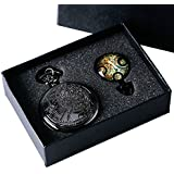 YISUYA Black Doctor Who Retro Dr Who Pocket Watch with Chain Mens Boys Necklace Pendant Gift Box