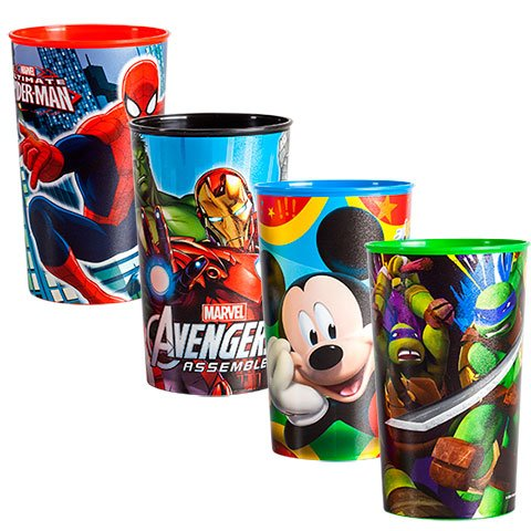 Kids Toddler Plastic Drinking Cup ''22 oz''. Ideal for Birthday Party Supplies. Spider Man, Iron Man, The Hulk, Ninja Turtles, Mickey Mouse Cartoon and Superheros. Dish Washer Safe. Set of 4 by Collective Bargain