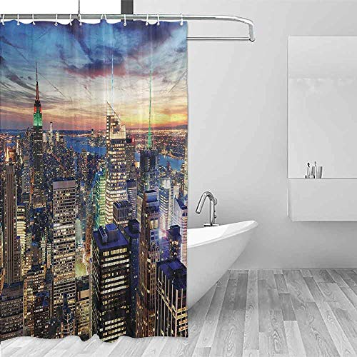 (Xlcsomf Modern Shower Curtain New York Skyline of NYC with Urban Skyscrapers at Sunset Dawn Streets USA Architecture Prevent Splashing Orange Blue,W60 xL72)