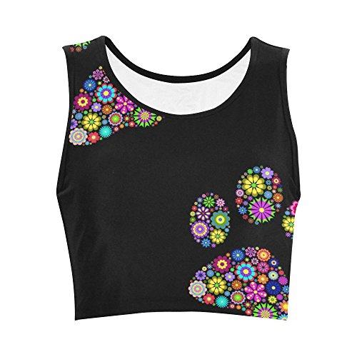 Fantasy Design Animal Paw Print On Black Background Women Nylon Spandex Sports Bra for Yoga Gym Workout ()