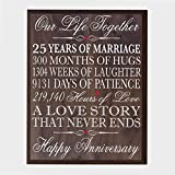 LifeSong Milestones 25th Wedding Anniversary Wall Plaque Gifts for Couple, 25th for Her,25th Wedding for Him 12'' W X 15'' H Wall Plaque (Walnut)