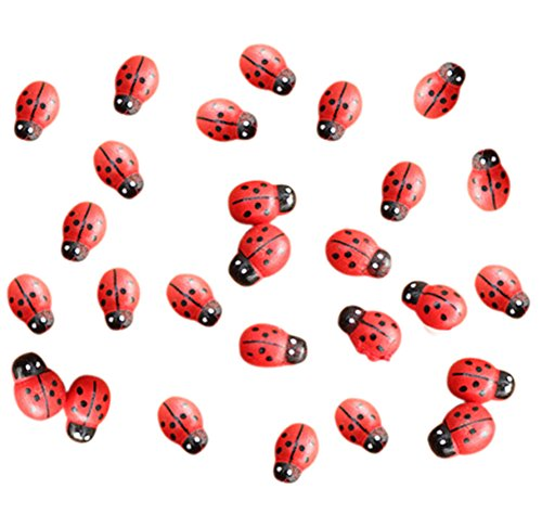 LAMEIDA 100 Pcs Ladybugs Miniature Fairy Garden Ladybugs Ornaments Figurine DIY Craft for Dollhouse Bonsai Micro Landscape Decoration ()