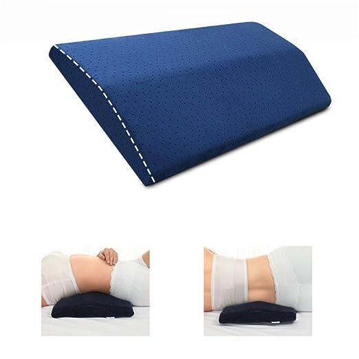 LandJoy Almohada de Soporte Lumbar Dormir Memoria Espuma Cojín Almohada Larga para el Alivio del Dolor de Espalda Almohada de Embarazo (Azul