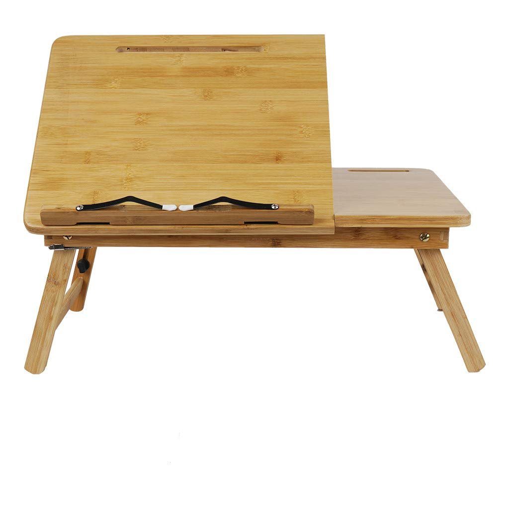 ♔MiaoC Laptop Desk, Multi Function Bed Tray, Computer Table Portable Laptop Tray Foldable Adjustable Breakfast Table with Storage Drawer Bamboo Wood Natural by MiaoC-Table