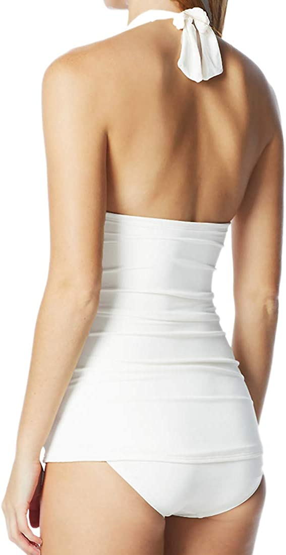 COCO RAVE One Piece Swimdress Halter Ruched Slim Line Skirted Swimsuit M 34C Pearl White