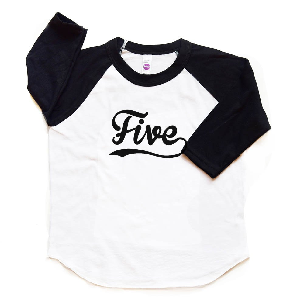 Amazon Five Raglan Tee Boy Girl 5th Birthday Shirt Toddler Fifth Bday Tshirt Baseball Trendy 5 Sports Clothing