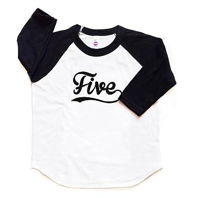 Amazon Five Raglan Tee Boy Girl 5th Birthday Shirt Toddler Fifth Bday Tshirt Baseball Trendy 5 Sports Clothing