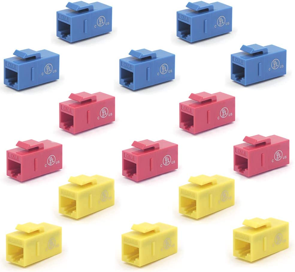 VCE UL Listed 15-Pack CAT6 Keystone Coupler RJ45 Female to Female Insert Coupler UTP Keystone Inline Coupler Blue+Red+Yellow
