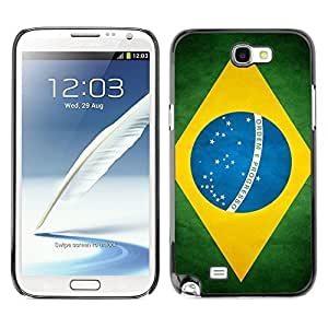 Shell-Star ( National Flag Series-Brazil ) Snap On Hard Protective Case For Samsung Galaxy Note 2 II / N7100