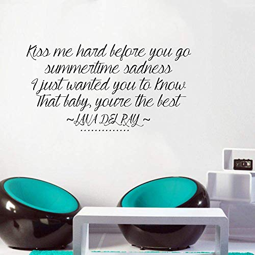 liotry Wall Art Decal Sticker Words Wall Saying Words Removable Mural Kiss Me Hard Before You Go Summertime Sadness I Just Wanted You to Know That You'Er The ()