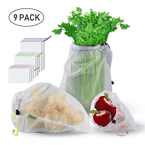 Reusable Produce Bags, BIG HOUSE ECO-Friendly Washable Double-Stitched Strength with Tare Weight on Tags Mesh Bags Through Large Medium Small for Grocery Shopping Storage Set of 9