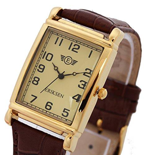Eriksen MCG Herren-Armbanduhr rechteckig Lederband