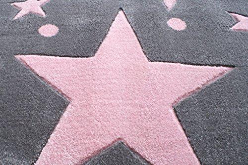 Tapis enfants Happy Rugs ÉTOILES gris/rose 160x230 cm: Amazon.fr ...