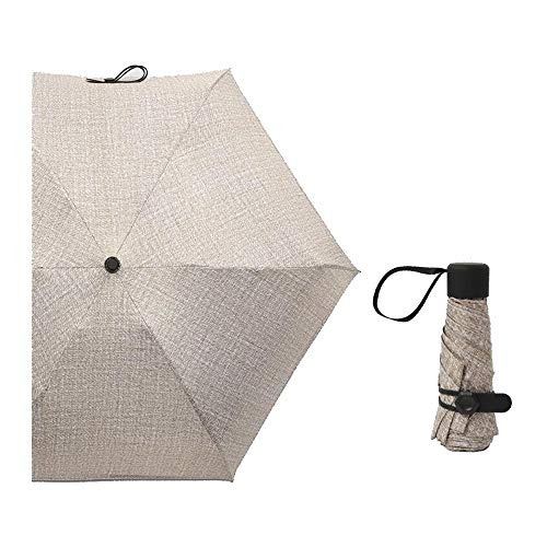 (TongLingUSL Fashion Women's Anti-Wind and Rain Dual-use Ultra-Light Black Plastic Sunscreen Mini Pocket Umbrella 6 Bones (Color : Coffee))