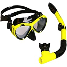 ANGGO Snorkel Set, Adults Recreation Anti-fog Film Diving Mask Snorkel Set, Tempered Glass Diving Mask and Dry Top Snorkel for Swimming and Diving