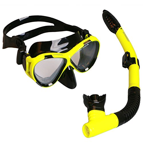 ANGGO Snorkel Set Adults Recreation Anti-fog Film Diving Mask Snorkel Set, Tempered Glass Diving Mask and Dry Top Snorkel for Swimming and (Adult Snorkel Set)