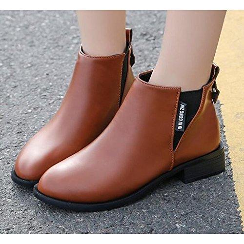Comfort pu Black Stivali Babbucce per Stivaletti Stivali cadono Pizzo Punta scarpe primavera piatto combattere donna di Casual Scarpe HSXZ cucitura tacco 1RxqXE1