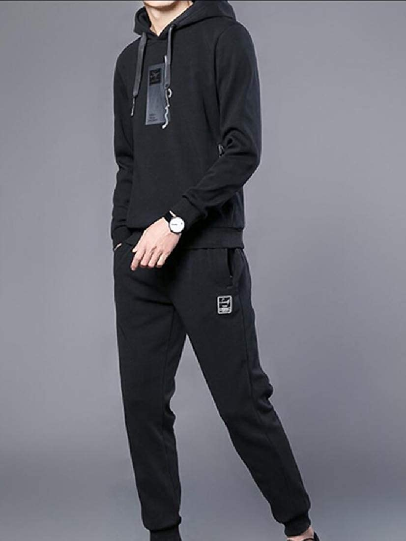 Gocgt Men Sport Suit Stretchy Trousers Hood Pants Jogging Sports Tracksuit Set