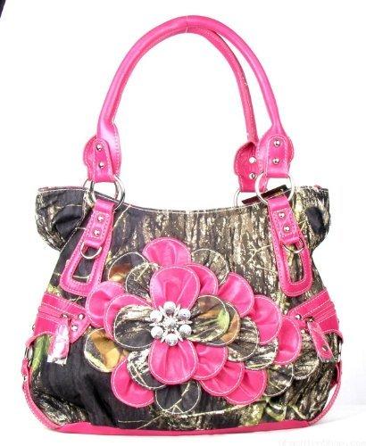 [Western Hot Pink Camouflage Flower Rhinestone Concho Handbag Purse Large] (Pink Rhinestone Concho)