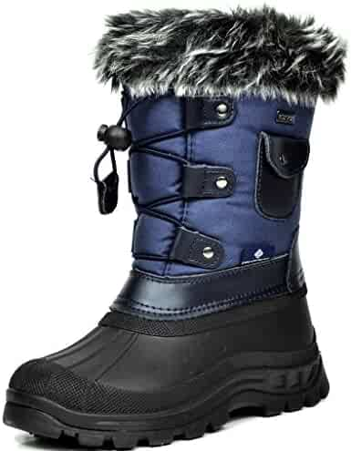 Dream Pairs KSNOW New Everyday Boys/Girls Insulated Fur Insole Lace/Zip Up Winter Waterproof Snow Boots
